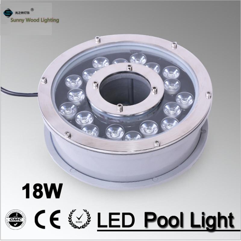 Lumière de fontaine de rvb, lumière imperméable de piscine de LED IP68 rvb lampe de piscine de paysage 16 couleurs changent 18 W, LPL-B-18W-24AC à ca de 24 V