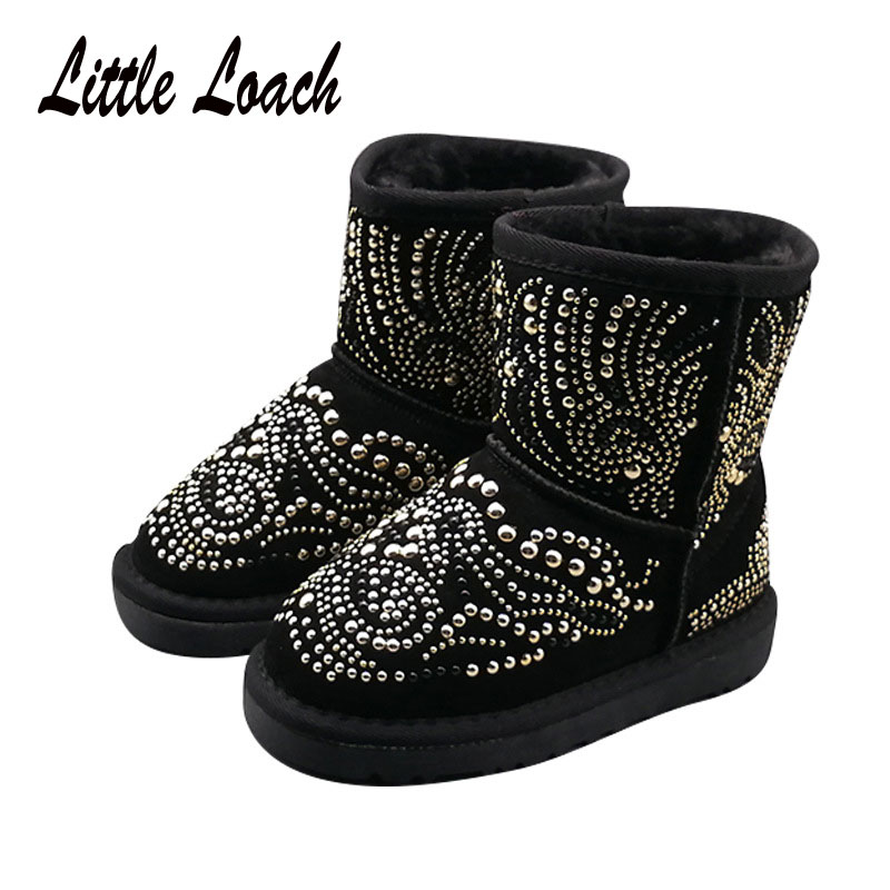 Children Rhinestone Snow Boots Suede Leather Fur Princess Winter Shoes All-match Slip-on Ankle Boots Black Rose Boots #23-38Children Rhinestone Snow Boots Suede Leather Fur Princess Winter Shoes All-match Slip-on Ankle Boots Black Rose Boots #23-38