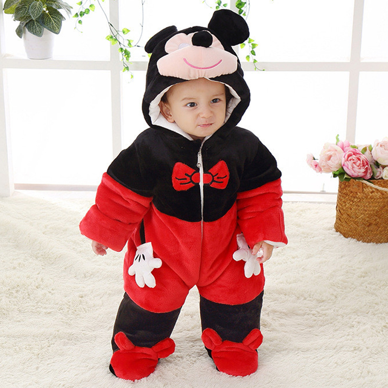 Cute Spring Winter Cotton Polyester Baby Romper Long Sleeve Coverall Hooded Infant Jumpsuit Mickey Shaped One Piece For Toddler