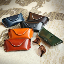 جديد النظارات حقيبة Vintage الموضة مادة الجلد الأصلي مشبك النظارات مربع النظارات الشمسية للرجال النساء الأسود براون BR5114