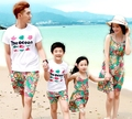 Summer Family outfits Sunshine Casual Flower woman girls Green Vest Dress Man boys sets