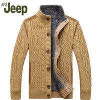AFS JEEP Battlefield Jeep 2016 Warm Thick Velvet Cardigan Sweater Men S Winter Jacket Men Stand