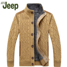 AFS JEEP/Battlefield Jeep 2016 теплый толстый бархат джемпер свитер мужская зимняя куртка Мужчины стенд воротник свободные свитера 160