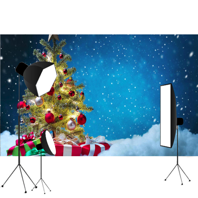 7X5ft Christmas Tree Vinyl Studio Backdrop Cloth Computer printed Xmas Gift Blue Photo Props Background snowman winter backdrop vinyl cloth high quality computer printed christmas photo studio background