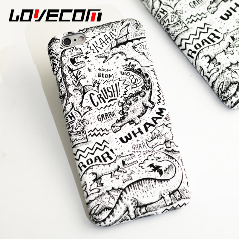 Newest Fashion Cartoon freehand Dinosaur Plastic frosted hard case for iphone 5 5S SE 6 6S Plus 7 7 Plus Back Cover Case & Bag