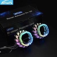RONAN 2,5 дюймов WRGB двойной светодиодный спиральный кожух Angel Eye Masks DRL для 2,5 дюймов WST Bi Xenon Би-светодиодный проектор кожухи объективов