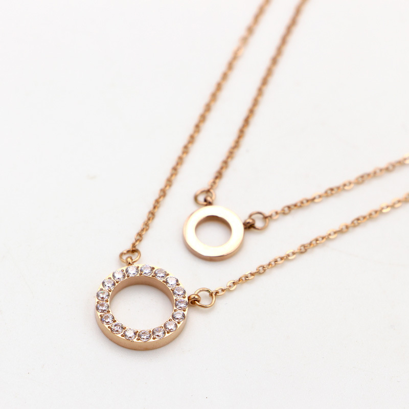 Fashion designer punk rosesilvergold color double chains pendant necklace. para el collar crystal circles necklaces jewelry