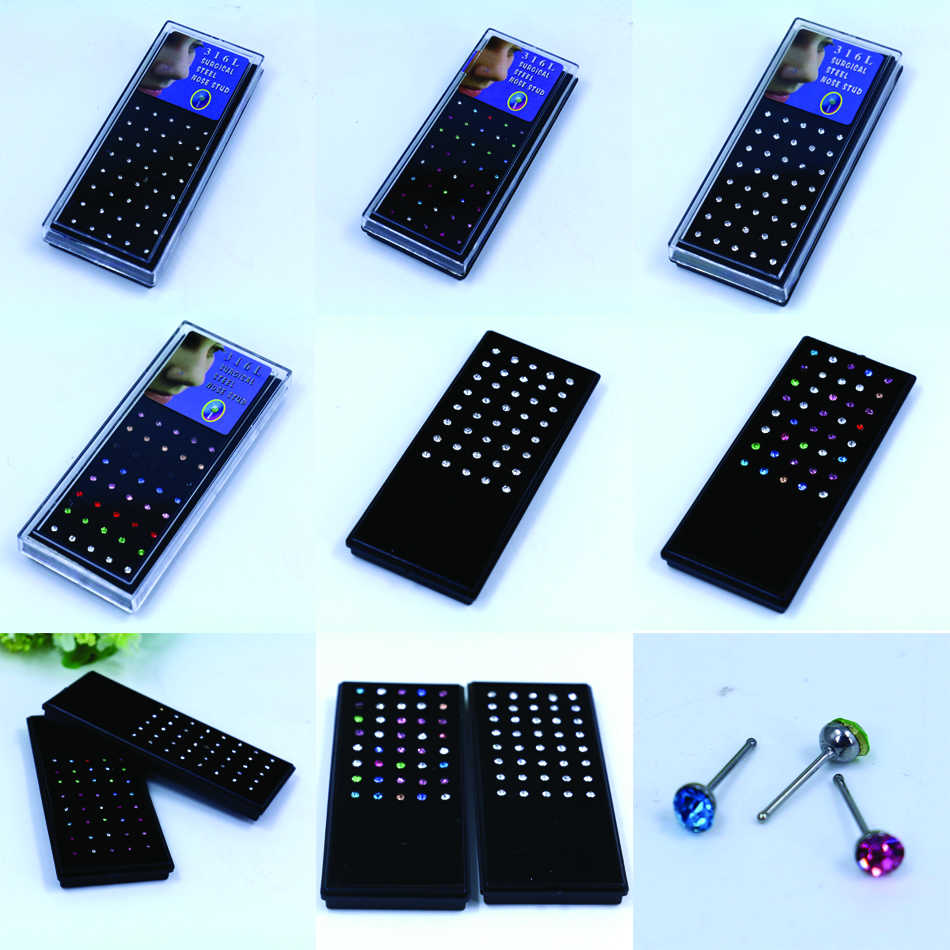 Factory Wholesale 40pcs/lot Box Packing 2mm 2.5mm 3mm Mini Small 316L Surgical Steel With Shining Rhinestone Nose Stud