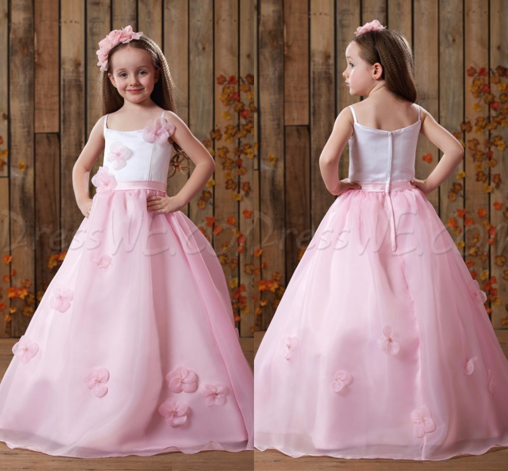 Rosa Barato Largos Vestidos de Niña para Bodas Y Fiesta de Chicas ...