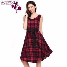 ACEVOG Women Dress Summer Casual Sleeveless Plaid V Neck Pullover Loose Party  Holiday Dresses Feminino Vestidos 4eb9ceb21721