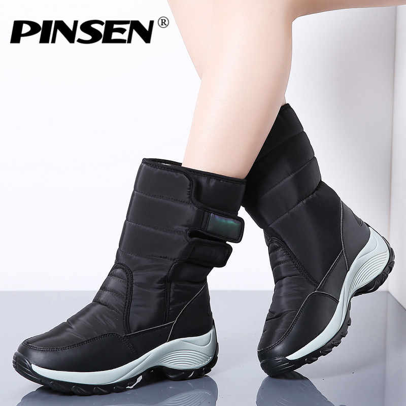 PINSEN Kış Kadın Çizmeler Moda Sıcak Bayanlar Rahat Kar Botları Su Geçirmez kaymaz Orta Buzağı Peluş Döndü- kaflı üzerinde Ayakkabı