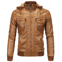 European Country Style Winter Hooded Mens Suede Leather Jackets 3XL Plus Velvet Warm Mens Michael Jackson Leather Jackets B092