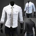 2014 nueva primavera elegante Casual de negocios Solid para hombre Camisas de vestir moda Slim Fit de manga larga Camisas Social Masculinas hombre M-XXL