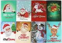 8 stks 5D DIY Diamant Schilderij Cartoon Papier Groet Ansichtkaarten Handwerk Kinder Festival Begroeten Kaarten Mini Kerstman Vrolijk