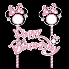 1 Set Mickey Minnie Mouse Theme Selamat Ulang Tahun Cupcake Topper Bendera Baby Shower Pesta Ulang Tahun Anak-anak Kue Dekorasi(China)