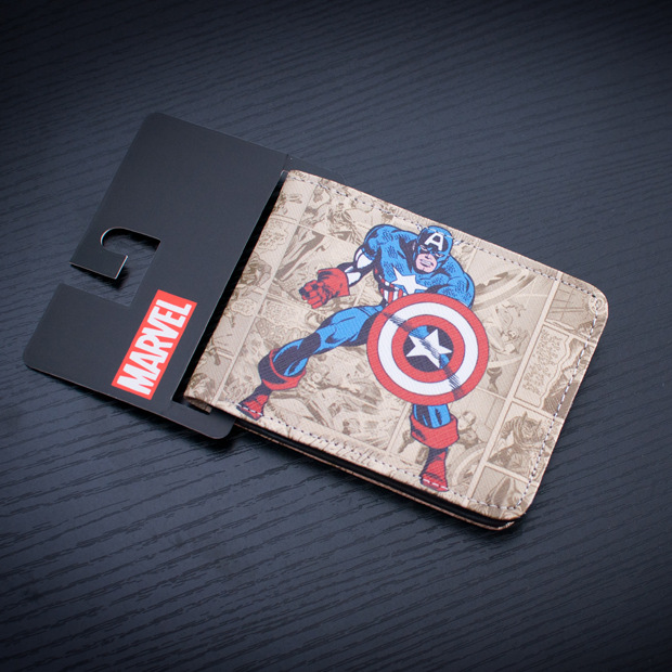 DC Marvel Comics Captain America Men Wallet Cartoon Anime Purse Fashion Casual Money Bag portefeuille Creative Gift Wallets 5 pcs lot cartoon anime wallet wholesale nintendo game pocket monster charizard pikachu wallet poke wallet pokemon go billetera
