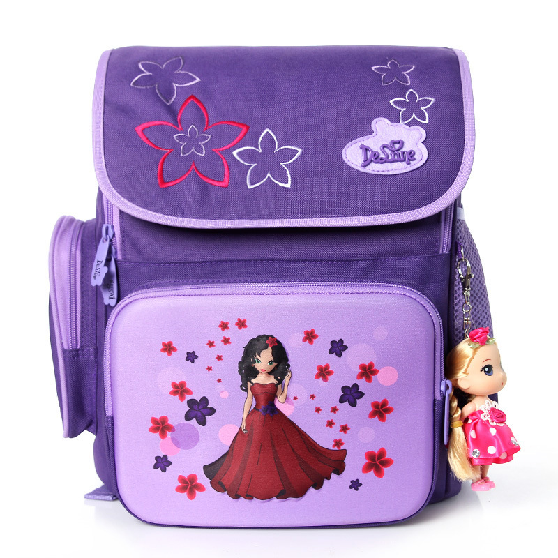 Delune School Bags for Girls Brand Children Backpack High Quality Bookbag Primary Students Backpacks Princess Schoolbag for Kid