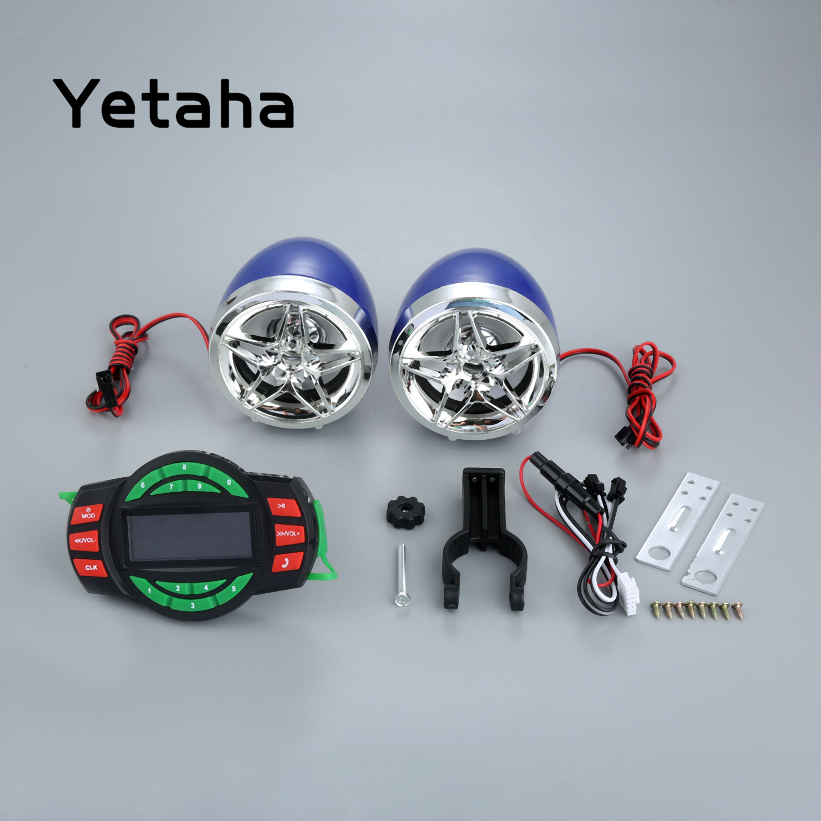 Yetaha Motorcycle Bluetooth Audio System MP3 Player Speakers Sets Moto Anti-theft Waterproof Support SD TF USB Phone Charging