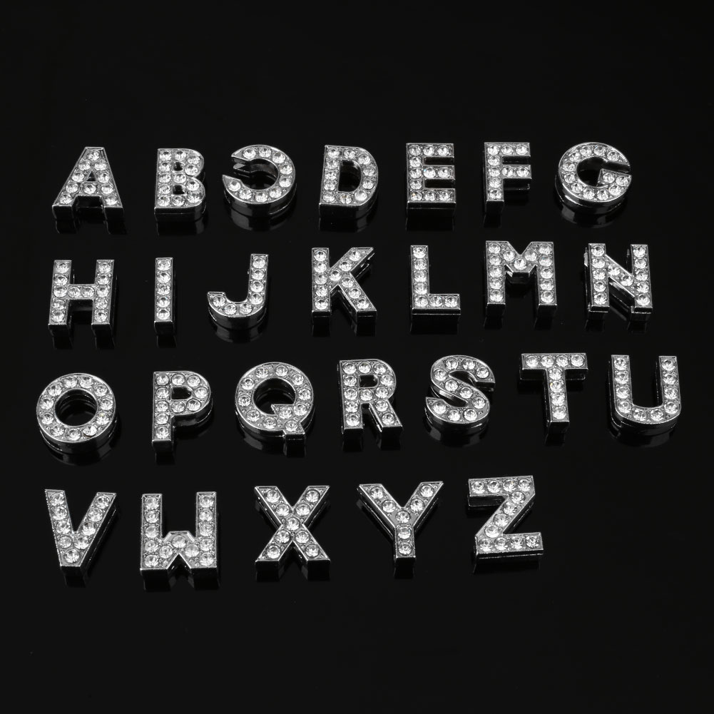 DIY A-Z Letter Set Alphabet Party Props Silver Crystal Rhinestone Diamond Initial Charm For Jewelry Making 26pcs