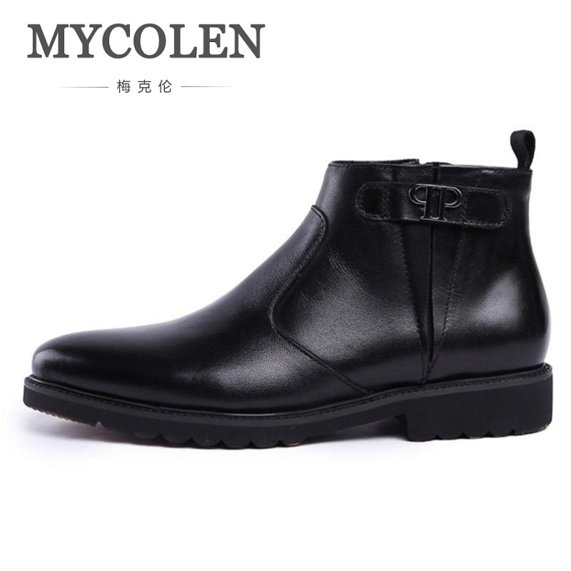 MYCOLEN Autumn Winter Genuine Leather Men Boots Fashion Casual High Top Zip Ankle Shoes Men Career Work Boots Man Erkek Bot