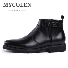 MYCOLEN Autumn Winter Genuine Leather Men Boots Fashion Casual High Top Zip Ankle Shoes Men Career Work Boots Man Erkek Bot(China)