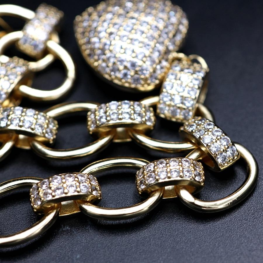 Hot DealsJewelry-Sets Necklace-Bracelets Pendant Heart-Shape Gold-Color Cubic-Zirconia Luxury