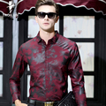 Troilus 2017 Fashion Print Men Shirt Cotton Brand Clothing Camisa Social Masculina Long Sleeve Blue Chemise Homme Formal Shirts