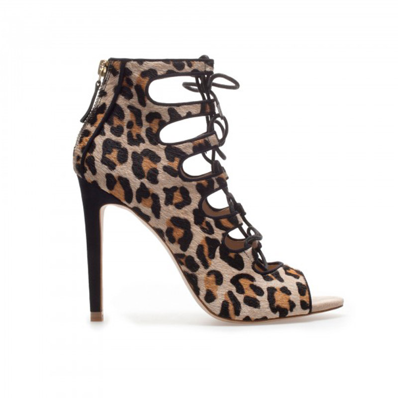 028450442576 Khaki Leopard Print Women Shoes Flock Spring