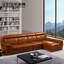 brown livingroom furniture sofa set designs modern l shape cheap sectional leather corner sofa set with wood legs decoration 639(China)