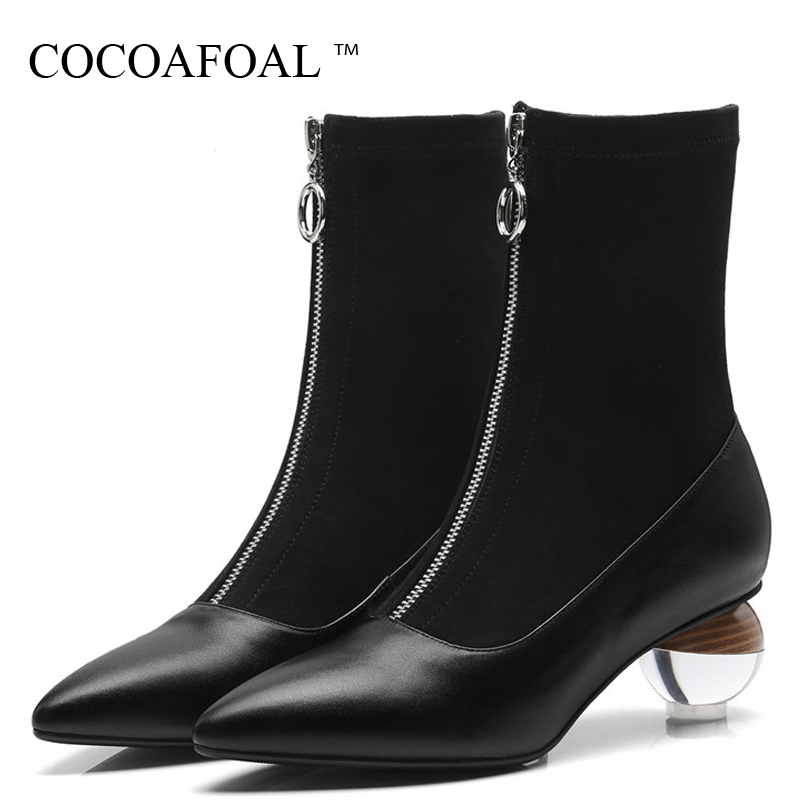 купить COCOAFOAL Black Silvery Women's Ankle Boots Genuine Leather Woman Chelsea Boots Autumn Winter Genuine Leather Shoes Martin Boots недорого