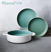 Kitchenware Ceramic Plate Creative Double Ear Deep Plates Personality Soup Salad Tableware For Kitchen Supplies