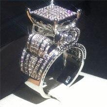 Şcong ديلوكس خاتم الخطوبة 925 فضة تمهيد الإعداد AAAAA تشيكوسلوفاكيا خاتم الخطوبة خواتم للنساء الرجال مجوهرات الزفاف هدية