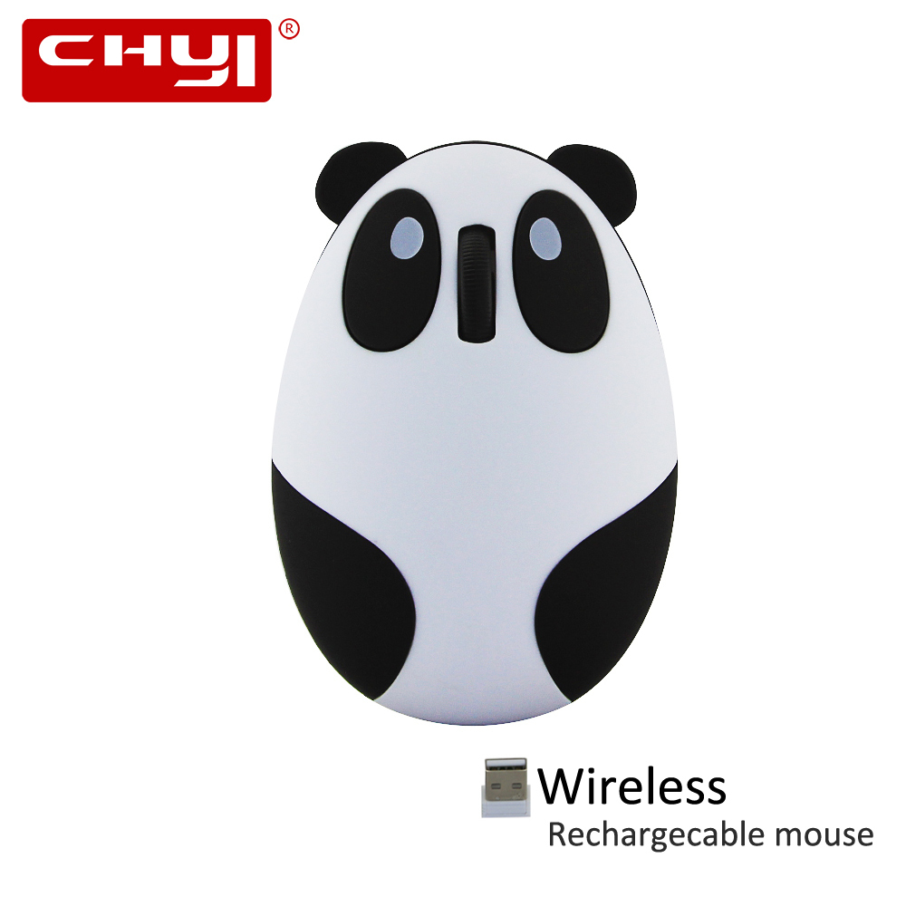 CHYI Cute Cartoon Panda Wireless Mouse 1600DPI Optical Rechargeable Mice USB Computer Mause With Mouse Mat for PC Laptop Girl