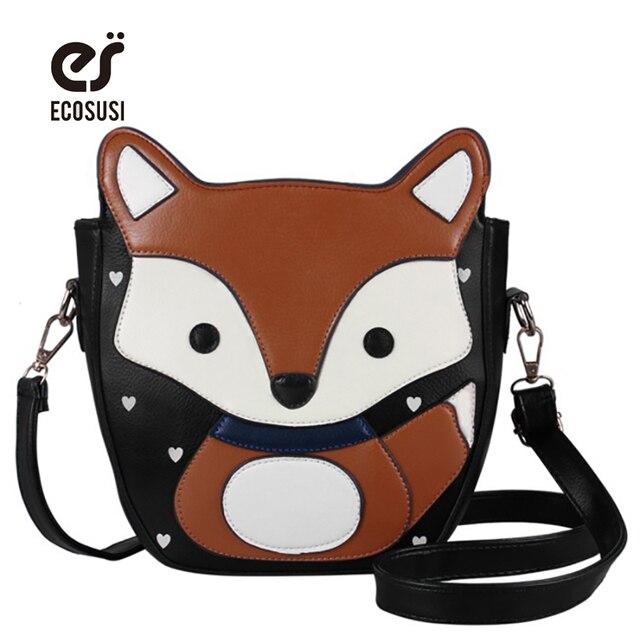 ECOSUSI New Encantador Dos Desenhos Animados Fox Mulheres Messenger Bags Top Quality Mulheres Doce PU de Couro Bolsas Campus Saco de Mulheres da Moda