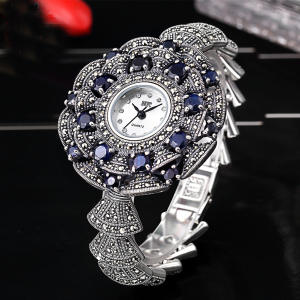 Bracelet Watches Silver Bangle Rhinestone Classic Elegant S925 Edition Thailand Process