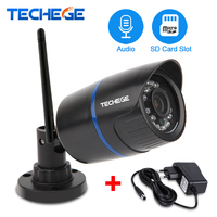 Techege 960P WiFi Wired IP Camera HD Network 1.3MP WiFi Camera Audio Record IR Waterproof Nignt Vision IP Camera Power Adapter