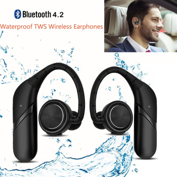 Waterproof TWS Twins Ear Hook Wireless Earphones Bluetooth Noise Cancelling Business Wireless Earbuds Headset Bluetooth with Mic
