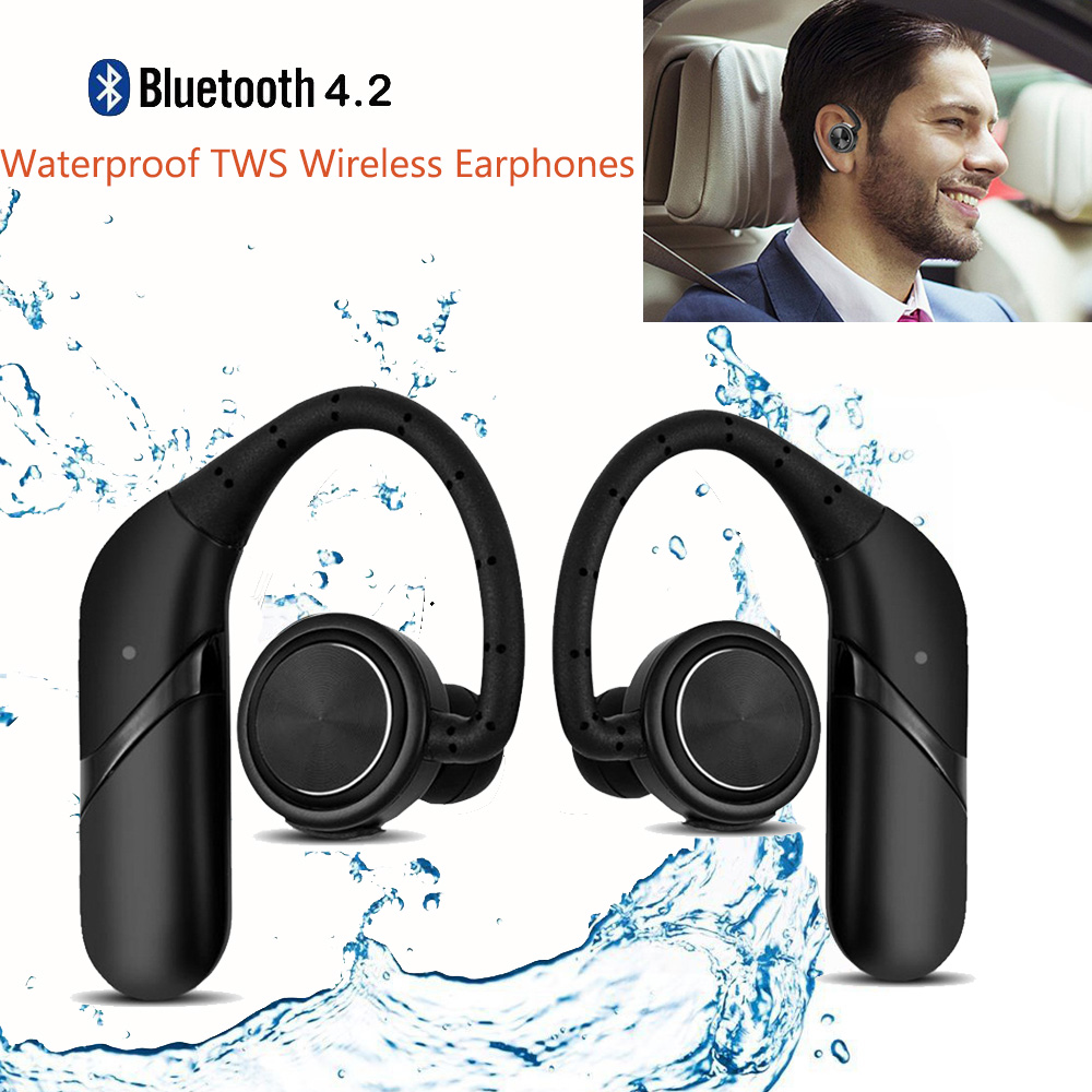 Waterproof TWS Twins Ear Hook Wireless Earphones Bluetooth Noise Cancelling Business Wireless Earbuds Headset Bluetooth with Mic качели perfetto sport слоник ps 010
