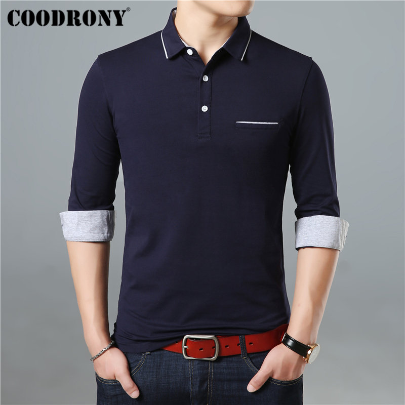 COODRONY Long Sleeve T Shirt Men Brand Business Casual Tshirt Men Turn-down Collar T-Shirt Men Soft Cotton Tee Shirt Homme 95005