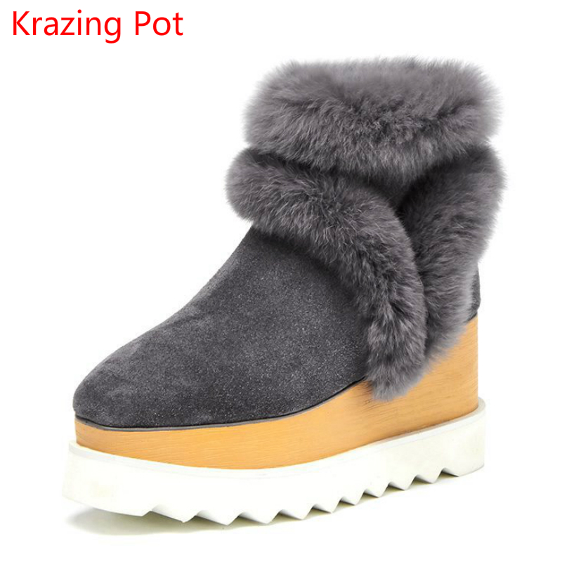 2018 Superstar Cow Suede Rabbit Fur High Heels Square Toe Keep Warm Party Wedding Winter Increased Ankle Boots for Women L22 2018 superstar cow suede streetwear square toe zipper high heels winter boots keep warm office lady ankle boots for women l50