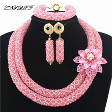Peach Pink Nigerian Beads Set Pretty Costume African Jewelry Set New Handmade Necklace Set Wholesale Free Shipping HD7816