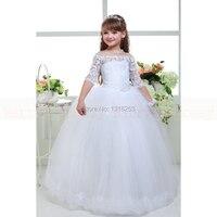 f1b43368e5 ... kwiat dziewczyna sukienki pierwsza komunia sukienka dziewczynki suknia  wieczorowa dla dzieci szata petite fille d honneur. Half Sleeve Lace Top  Tulle ...