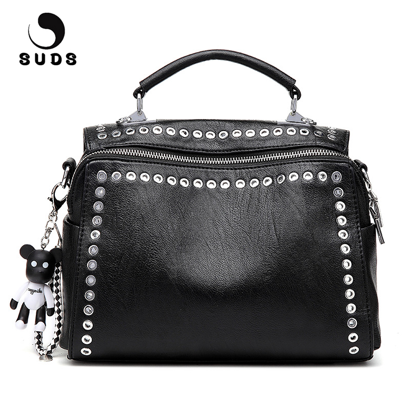 76b6872deae9 SUDS Brand Vintage Leather Rivet Shoulder Bag European And American Style  Women Multifunction Crossbody Tote Bags Bolsa Feminina