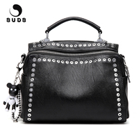 SUDS Brand Vintage Leather Rivet Shoulder Bag European And American Style Women Multifunction Crossbody Tote Bags Bolsa Feminina