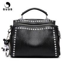 SUDS العلامة التجارية خمر الجلود برشام حقيبة كتف الأوروبية والأمريكية نمط المرأة متعددة الوظائف Crossbody حمل الحقائب بولسا الأنثوية