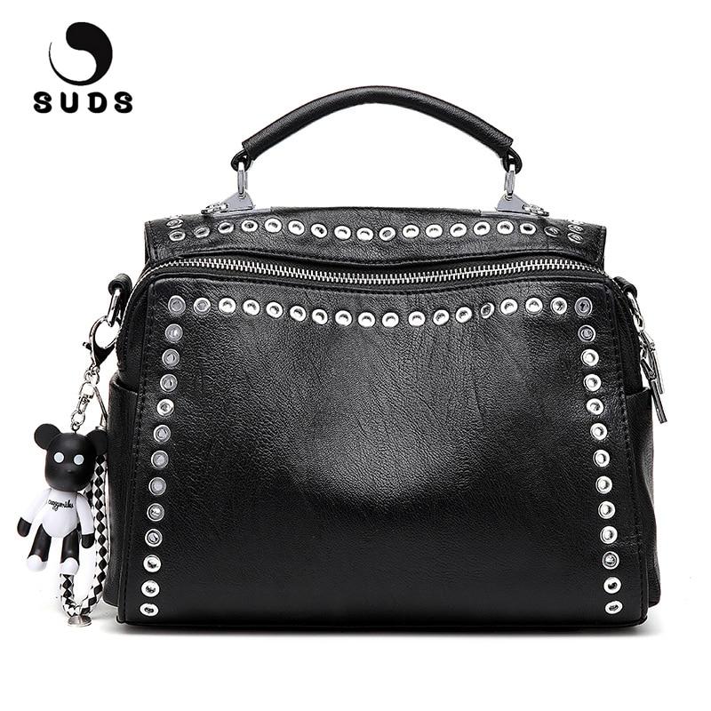 Suds marca de couro do vintage rebite bolsa ombro estilo europeu e americano mulheres multifuncional crossbody tote bags bolsa feminina