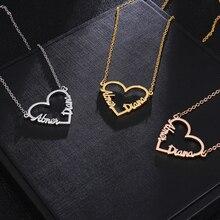 Розовое Золотое любовное сердце персонализированное имя ожерелье s& Подвески для женщин ожерелье из нержавеющей стали пользовательские серьги-гвоздики с надписями