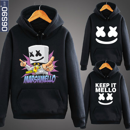 Hoodies DJ Marshmello face jacket DJ audio mix cotton sweater cap men and women Hip Hop Long Sleeve  sweatshirt S-XXXL