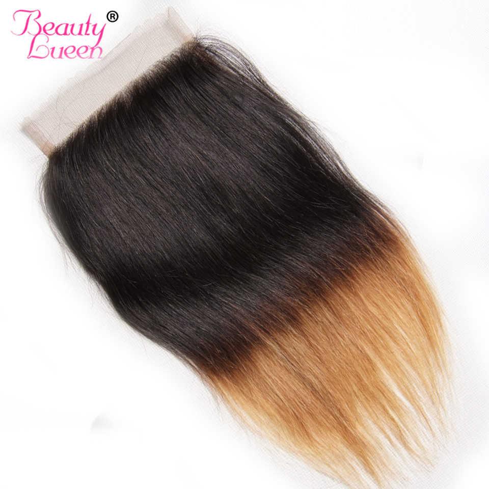 Ombre Bob прямые волосы бразильские человеческие волосы пучки с закрытием 3 пучка с закрытием не Реми два тона 1B/27 волос плетение