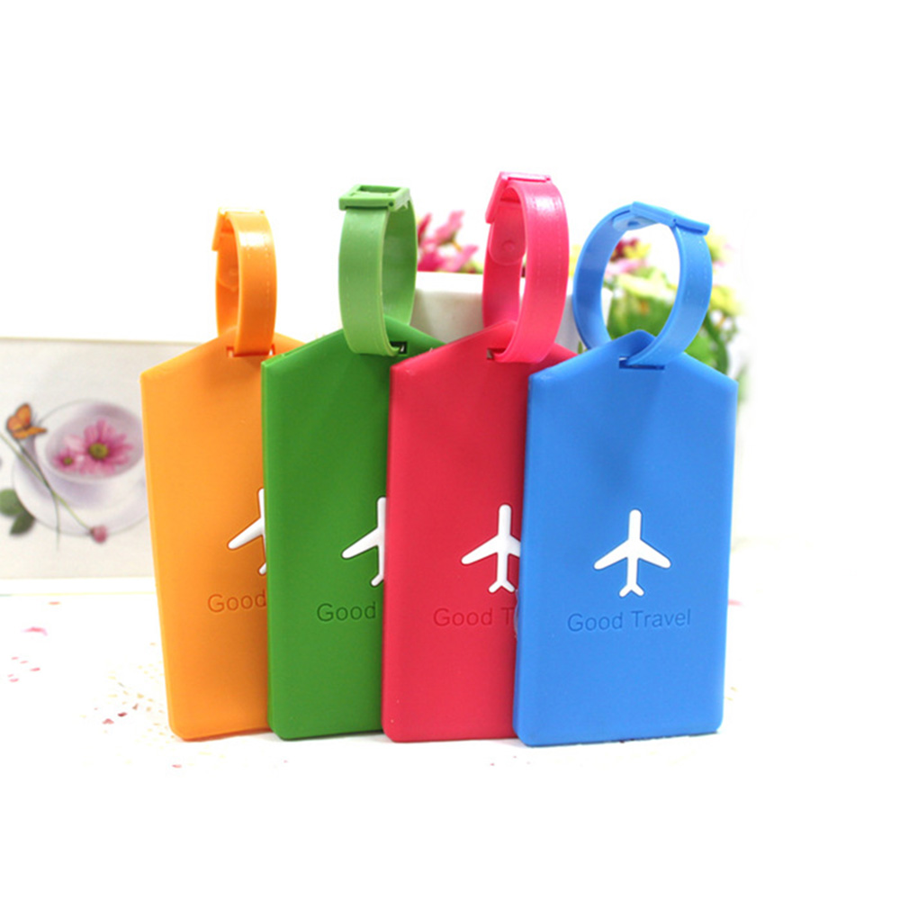 Mini Rectangle Silicone Luggage Tags Travel Accessories Baggage Name Tags Suitcase Address Label Holder